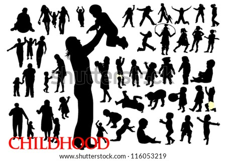 silhouettes of family and children