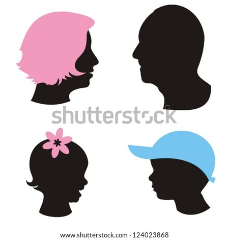 silhouettes of family members
