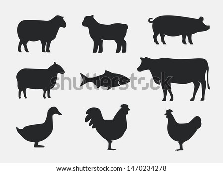Silhouettes of Farm Animals. Cow, Pig, Sheep, Lamb, Hen, Fish, Duck. Farm Animals icons isolated on white background. Vector livestock icons.
