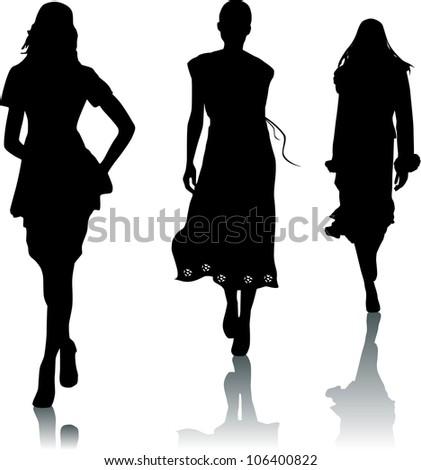 Silhouettes of fashion girls