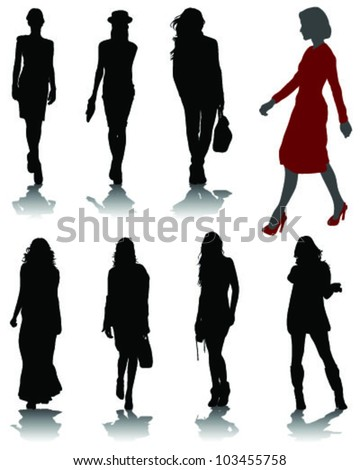 Silhouettes of fashion-vector