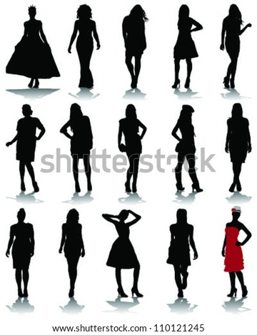 Silhouettes of fashion 2-vector