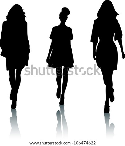 Silhouettes of fashion women