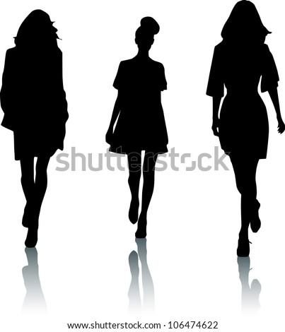 Silhouettes of fashion women