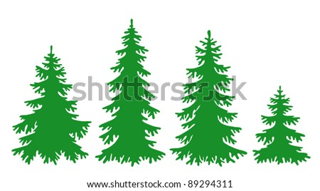 silhouettes of fir trees in vector format eps8 - Christmas Tree Clip