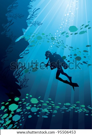 silhouettes of fish and diver