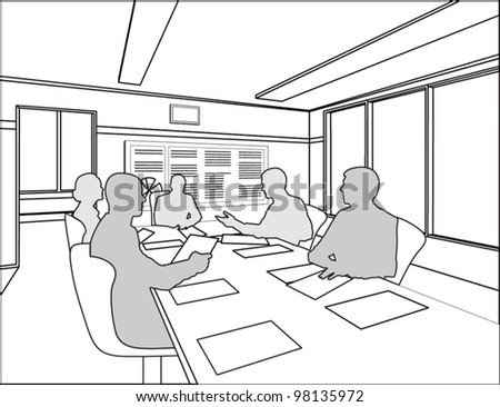 silhouettes of five business people negotiate at the table on the white chairs