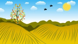 silhouettes of flying birds, against the sky with the sun and clouds, over the forest, fields and hills and a lonely tree with withering leaves. autumn landscape. hand drawing. vector