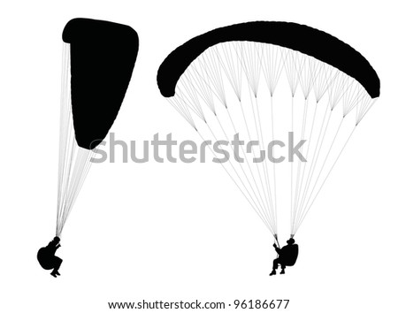 Silhouettes of flying paragliders. Vector