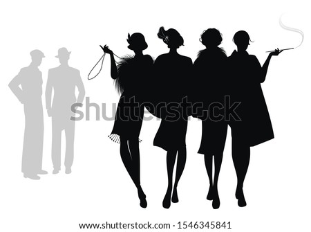 silhouettes of four flapper