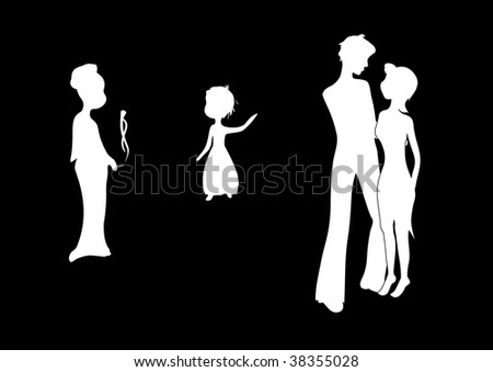 silhouettes of four people on black: lady, baby pointing to a couple of young people who are going to kiss