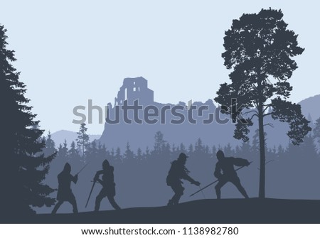silhouettes of four warriors