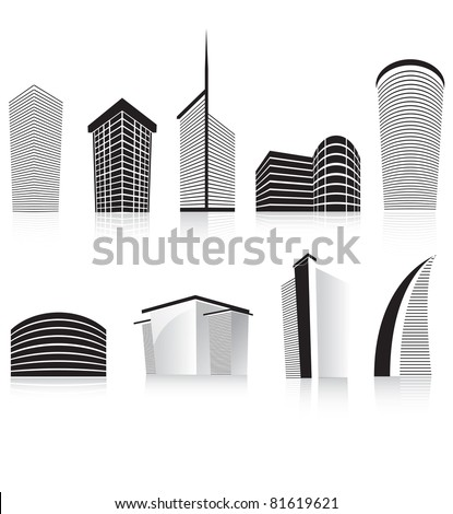 silhouettes of generic modern city office skyscrapers and headquarters buildings