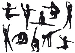Silhouettes of girl, children at dance, aerobics, shaping. Girl gymnast athlete isolated on white background