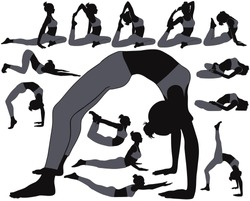 Silhouettes of girl in costume doing yoga exercises in different poses. Yoga stretching poses for woman to make spine and body flexible and healthy. Yoga icons isolated on white background.