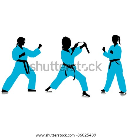 silhouettes of girls karate