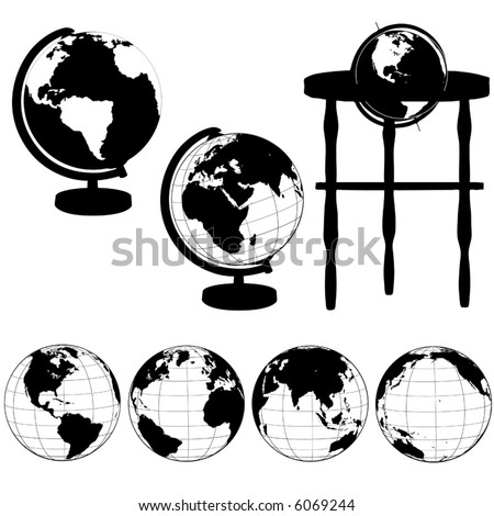 Silhouettes of Globes on Stands, and a set of various globe views: Eastern Hemisphere; Asia; Atlantic; Pacific. - stock vector