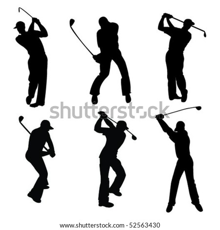 Silhouettes of golfers
