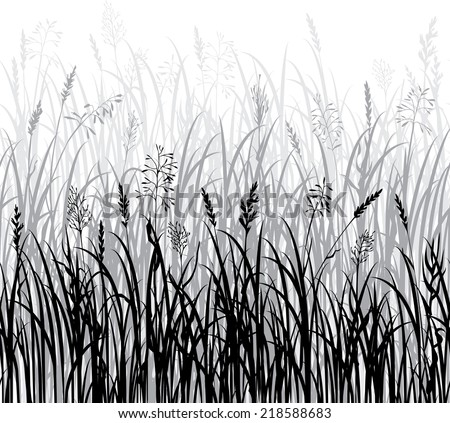 silhouettes of grass  hand