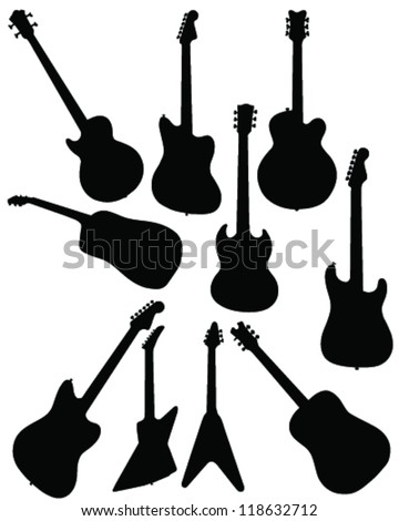 silhouettes of guitar vector