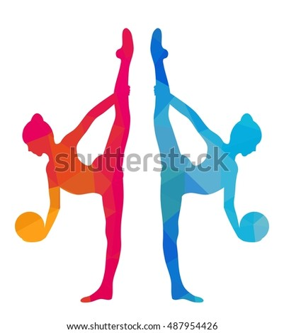 Silhouettes of gymnastic girl with ball. Colorful triangular style isolated on white background