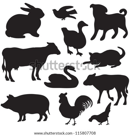 Silhouettes of hand drawn farm animals. Dog,  cat, duck, rabbit, cow, pig, cock, hen, swan, puppy, kitten.