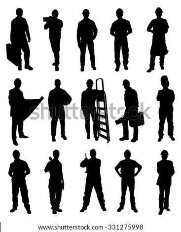 Silhouettes Of Handyman Set Over White Background