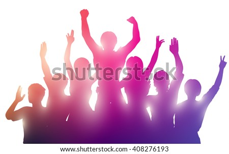 silhouettes of happy people on