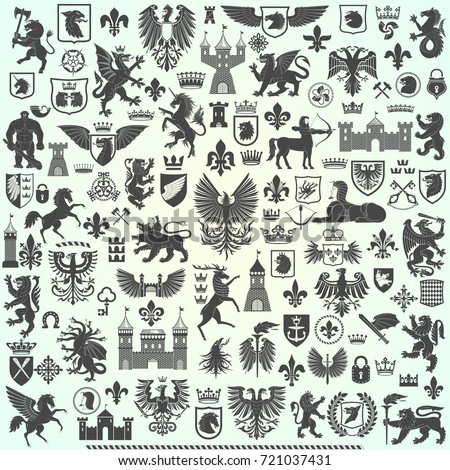 Silhouettes Of Heraldic Design Elements. Big collection of vector high quality shapes for heraldic projects