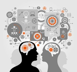 Silhouettes of human heads, gears and speech bubbles. Communication between people. Business process concept. The origin of the idea. Thinking process. Training.