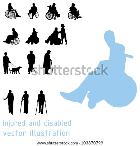 Silhouettes of impaired people