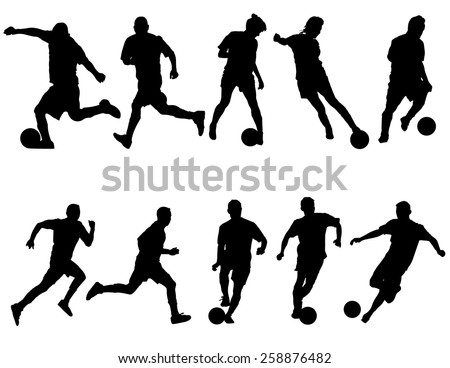 silhouettes of indoor soccer
