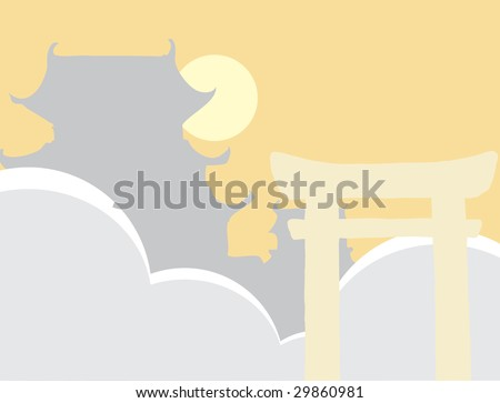 Silhouettes of japanese tori gate and castle with clouds and sun.