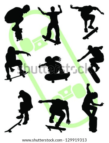 Silhouettes of jump skate-vector