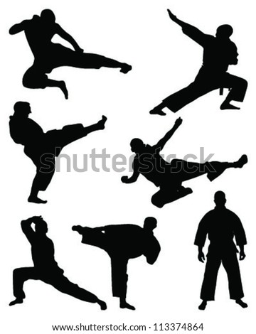 silhouettes of karate-vector