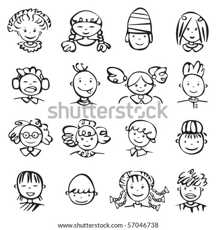 Silhouettes of kid faces.