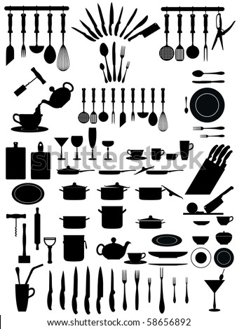 silhouettes of kitchen accessories, cutlery, various types of knives dishes...