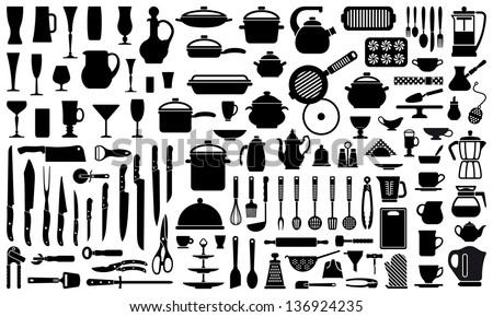 kitchen utensils silhouette vector free. Silhouettes Of Kitchen Ware And Utensils Silhouette Vector Free N