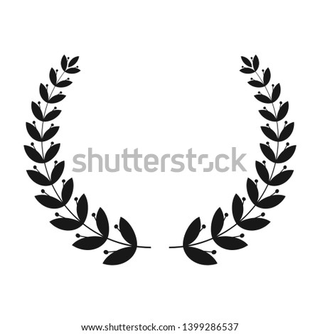Silhouettes of laurel wreath. The symbol of victory. The award ceremony in the competition, in the fight for first place. Ornament for heraldic coat of arms, certificate, insignia or quality.
