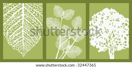 Silhouettes of Leaf, Branch and Tree. Picture with Clipping Mask.