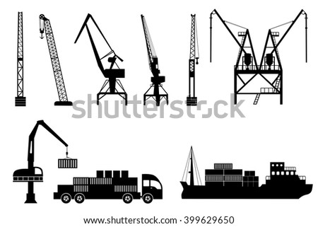 Silhouettes of loading lifting harbor cranes, truck and container ship. Vector icons set