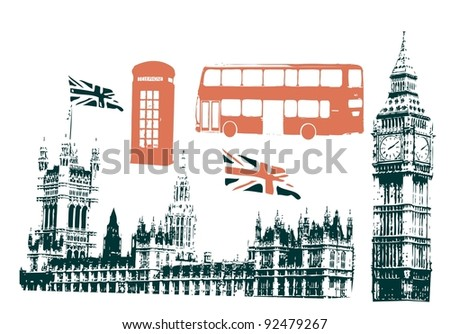 silhouettes of london sigtseeings - stock vector