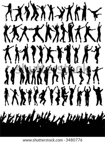 Silhouettes of lots of party people - vector