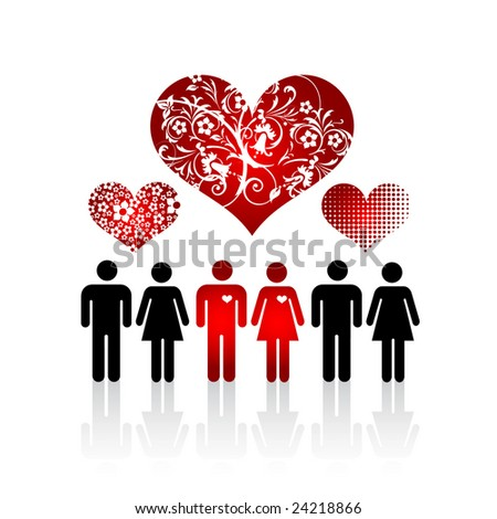 Silhouettes of lovers pair in crowd of people and floral hearts