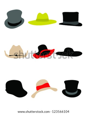 Silhouettes of male and female hat-vector