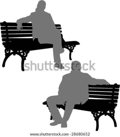 silhouettes of man and woman sitting on the park bench - vector