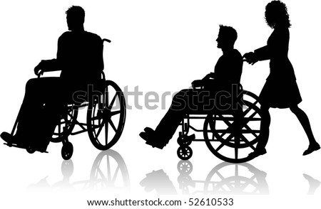 Silhouettes of man in wheelchair with woman pushing him