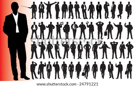 Silhouettes of many business people