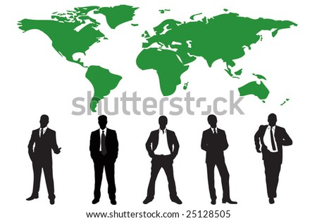 Silhouettes of many business people - vector illustration