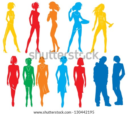 Silhouettes of many people. Vector picture with color silhouettes  of many people white isolated background